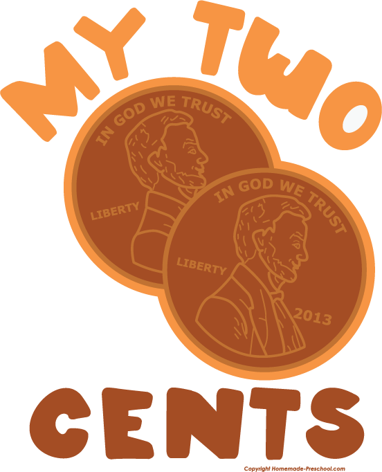 png black and white Two Cents Clipart