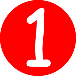 jpg transparent library Red rounded with number. 1 clipart