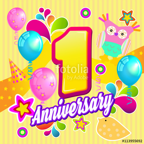 picture black and white stock 1 vector happy 1st birthday.  st anniversary year
