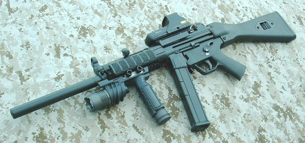 picture black and white Arms . Vector 10mm mp5