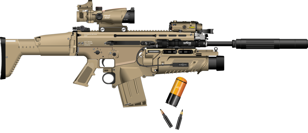 graphic freeuse library Vector 10mm suppressor. Scar h with silencer
