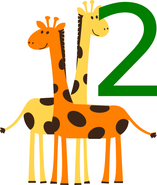 image transparent library 2 clipart animal number. Two giraffes animals clip