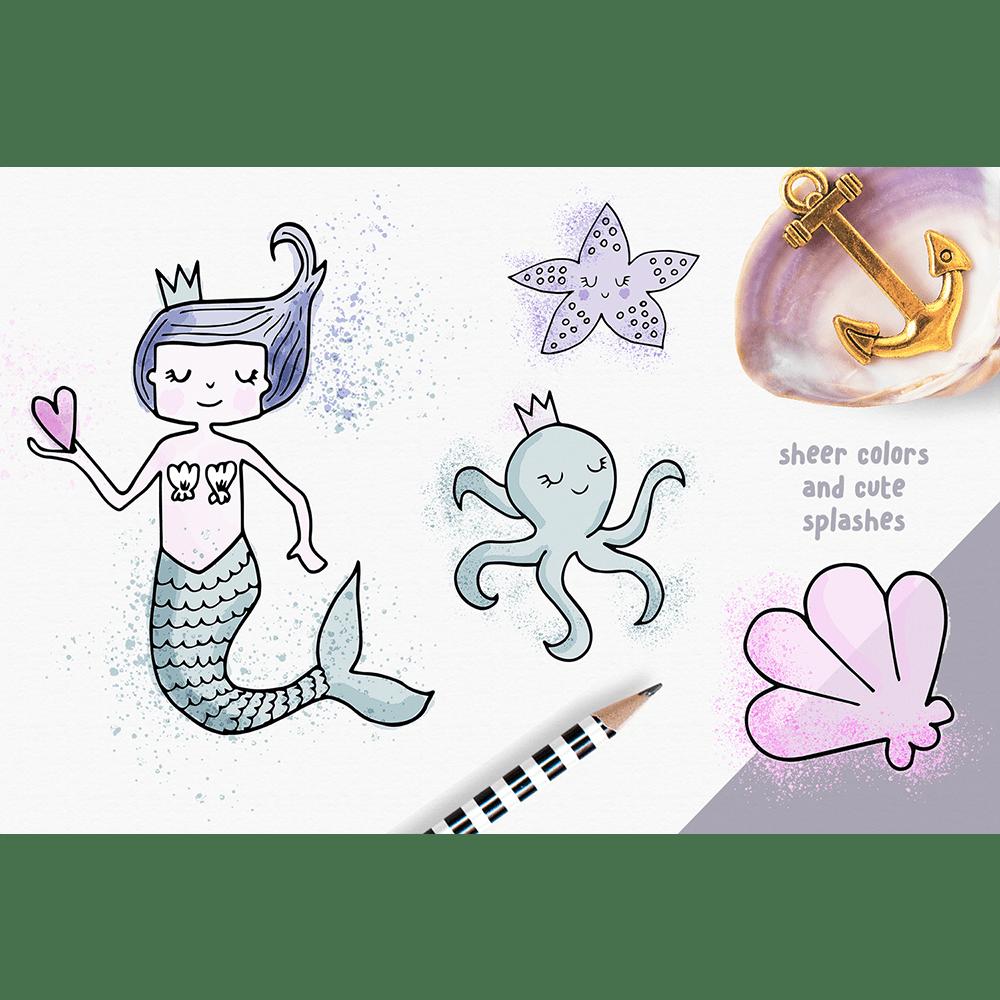 clip black and white 2 clipart min. Cute digital watercolor mermaid