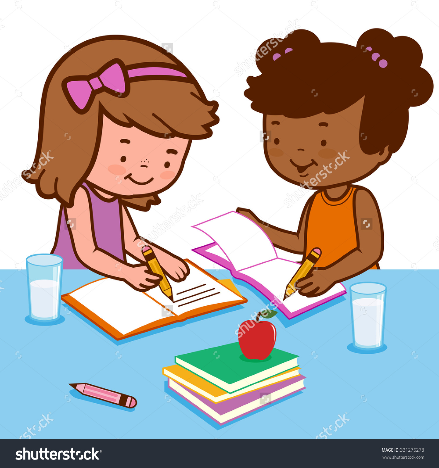 clip freeuse library Together . Two students working clipart