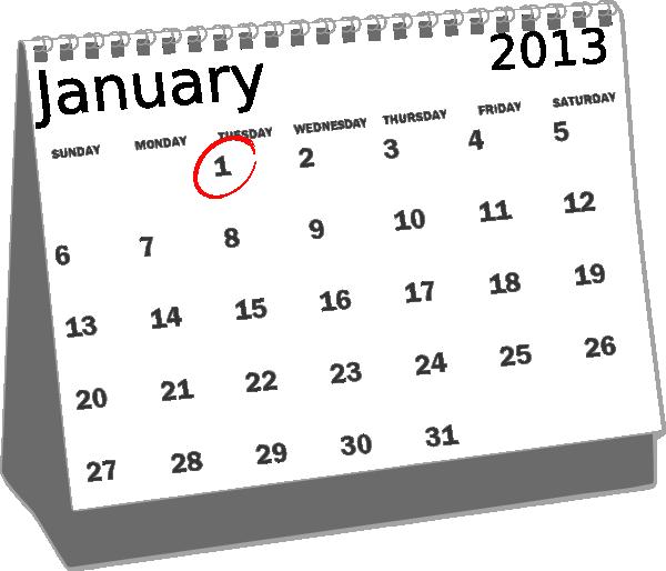 clip art free stock January desk calendar clip. 2013 clipart black and white