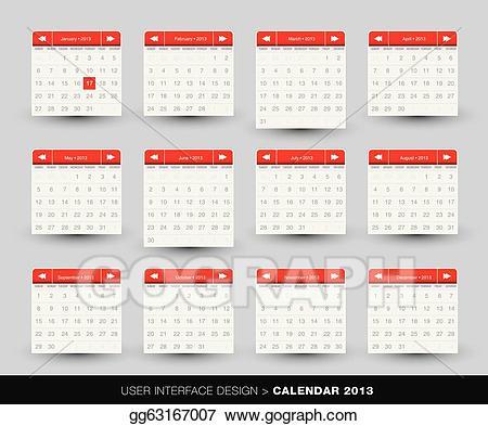 banner royalty free download 2013 clipart calendar design. Vector art monthly for