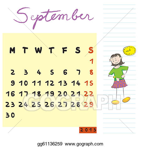 image royalty free 2013 clipart calendar design. September kids stock illustration