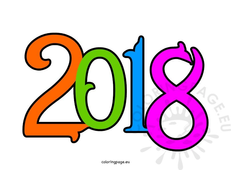 vector royalty free Happy new year coloring. 2018 clipart