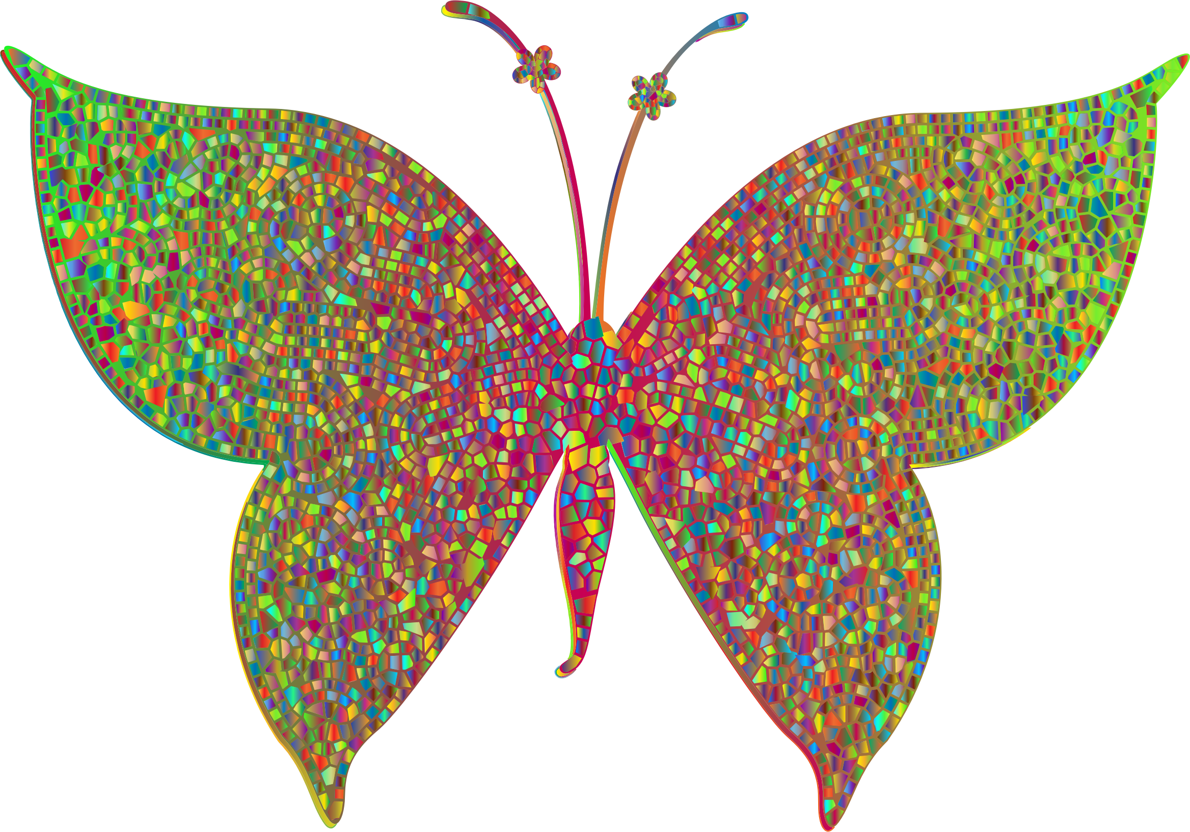 image royalty free 3 clipart butterfly. Prismatic colorful tiled big