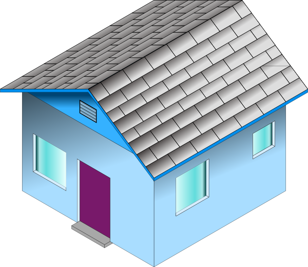 jpg transparent library Small Blue House Clip Art at Clker