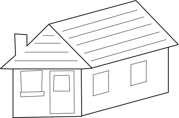 vector free library Home clipart black and white. House d roof got