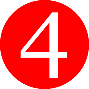transparent library Red rounded with number. 4 clipart