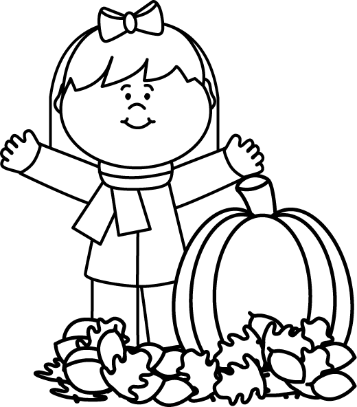 clipart Black and White Autumn Girl