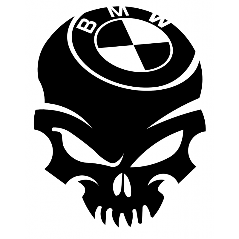 graphic black and white stock Stickers Skull BMW