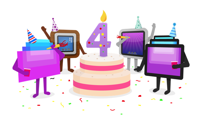 vector black and white 4th clipart 4th anniversary. Happy th birthday screens