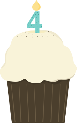 vector black and white Fourth Birthday Cupcake