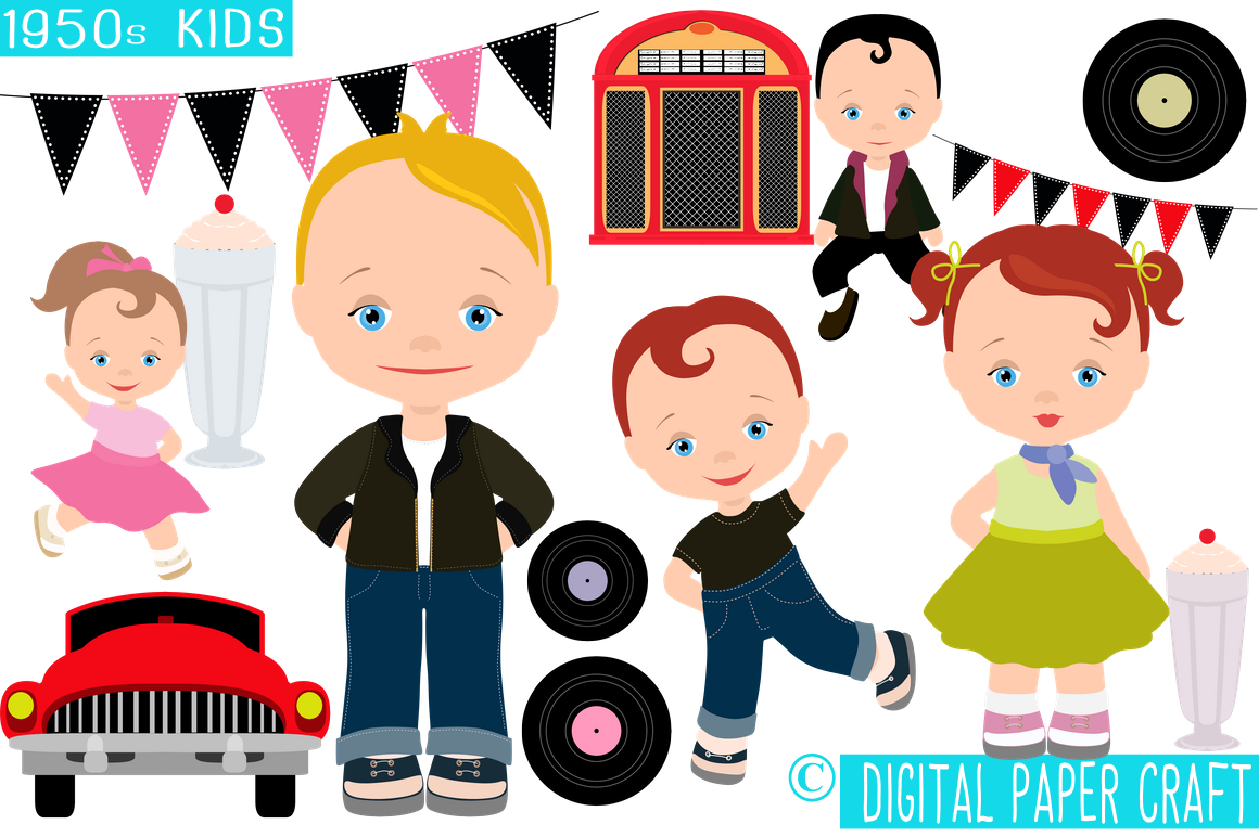 jpg royalty free stock 50s clipart 50 kid.  s family transparent