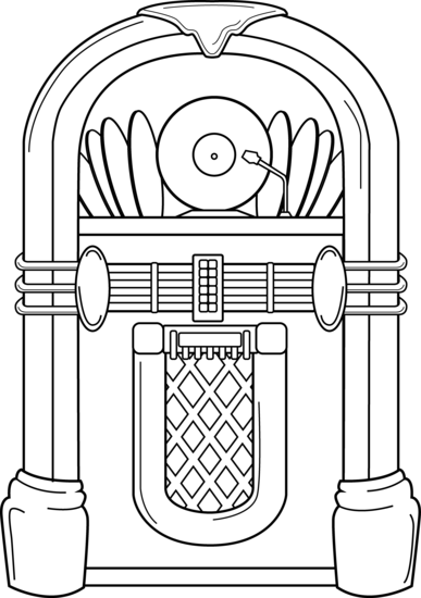 clip free download Jukebox drawing. Coloring page sock hop