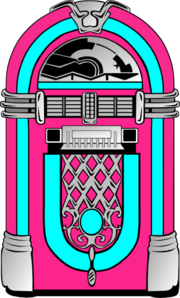 graphic free stock Pink and blue jukebox. 50s clipart radio