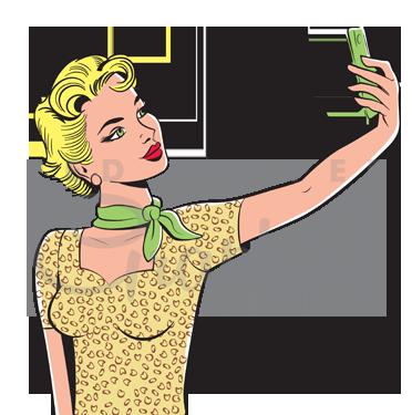 jpg royalty free stock 50s clipart vintage vector. Retro selfie girl s