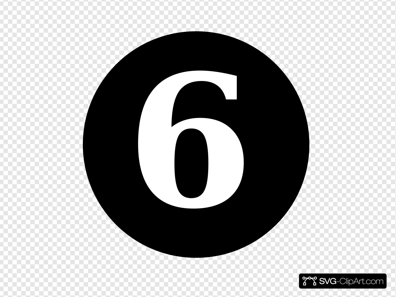 jpg royalty free stock White numeral centered inside. 6 clipart circle