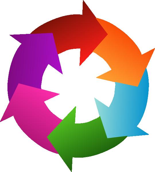 clipart royalty free stock Six rainbow circular arrows. 6 clipart circle
