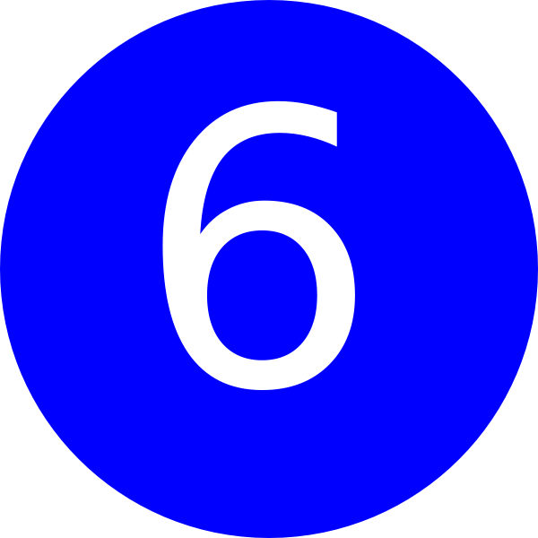 svg royalty free stock 6 clipart circle. Number blue background clip