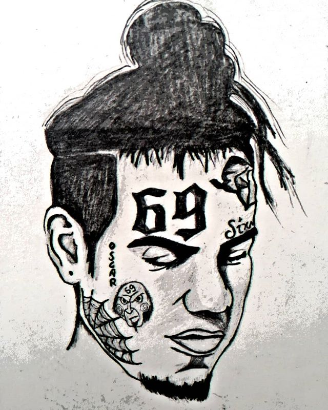 png black and white  ix inedrawing instagram. 6ix9ine drawing sketch