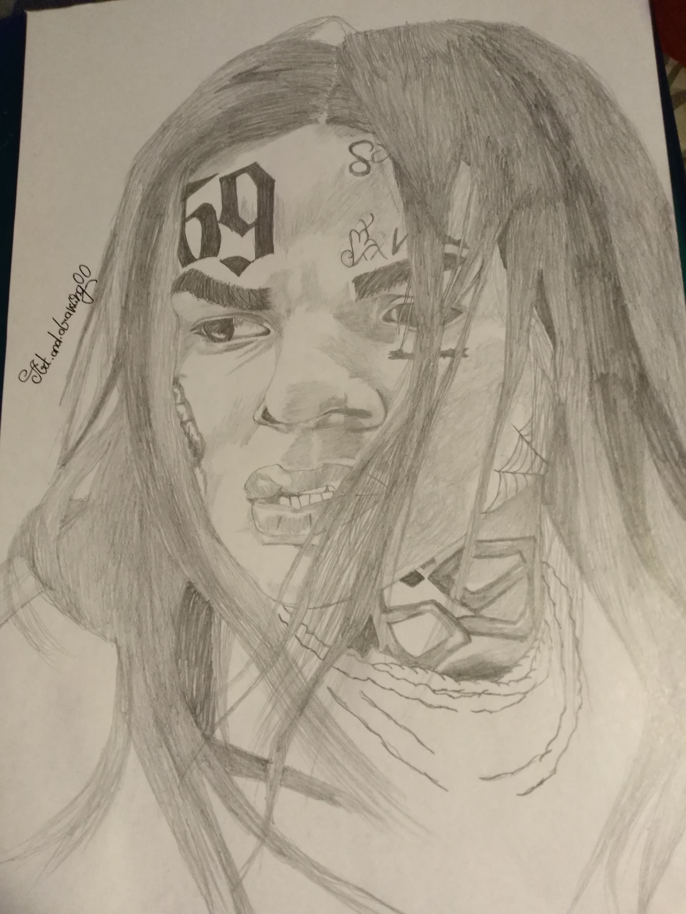 clip black and white download New ix ine realistic. 6ix9ine drawing sketch