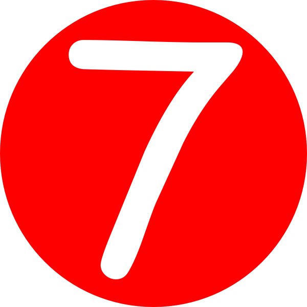 picture royalty free stock Red rounded with number. 7 clipart.