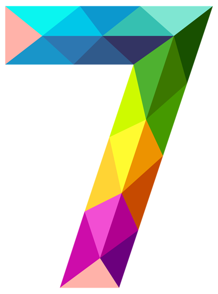 image royalty free Colourful triangles number seven. 7 clipart 7th
