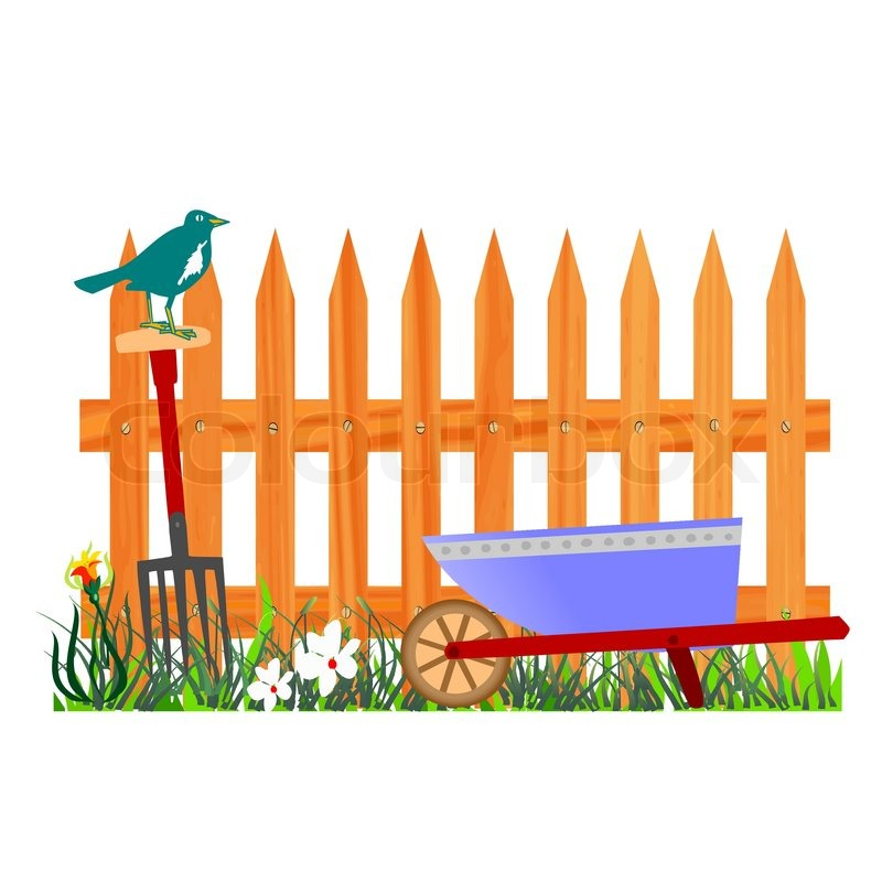 vector royalty free Garden station . 7 clipart fence.
