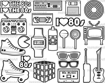 clipart transparent library 80's clipart black and white.  s