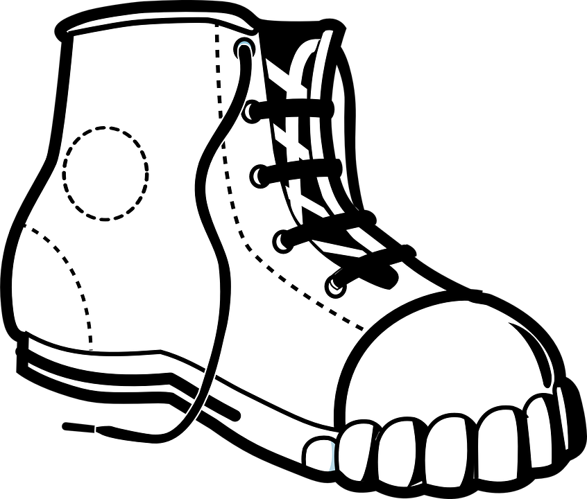 clip royalty free stock Boots clipart black and white. Sneaker cliparts converse untied