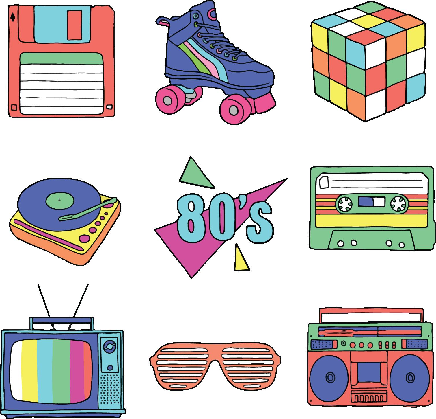 banner 80's clipart casette tape. Adobe illustrator clip art