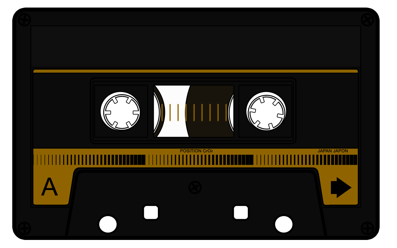 svg black and white stock Cassette by quick stop. 80's clipart casette tape