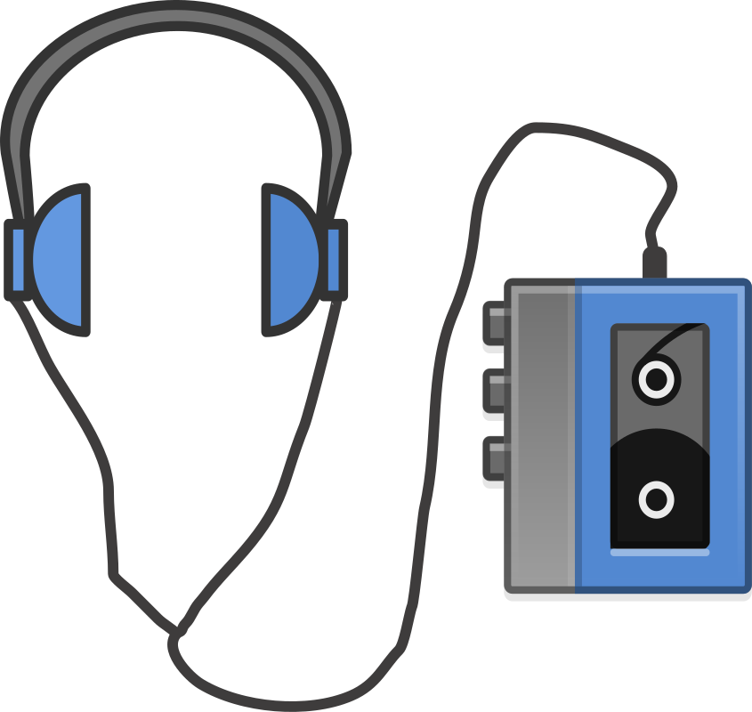 svg download Headphones with portable tapeplayer. 80's clipart cassette player