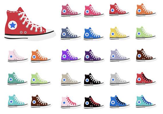 clip art stock Converse chuck taylor tops. 80's clipart high top sneaker