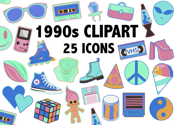 svg library library 90s clipart.  s neon colors