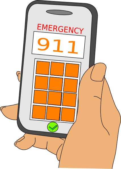 picture black and white library Emergency phone call clip. 911 clipart