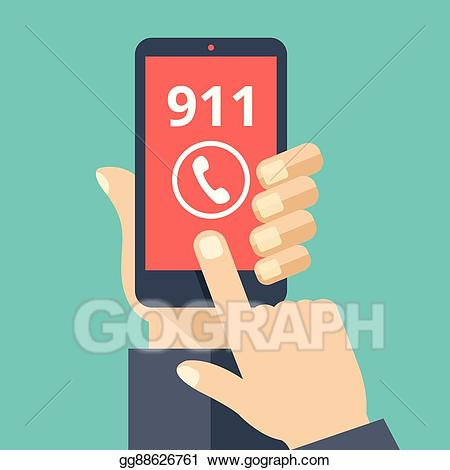 banner royalty free library 911 clipart 911 phone. Vector illustration call emergency