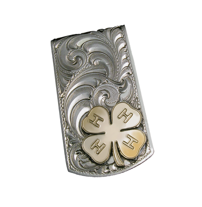 svg black and white German Silver Engraved Pattern Money Clip With Initials
