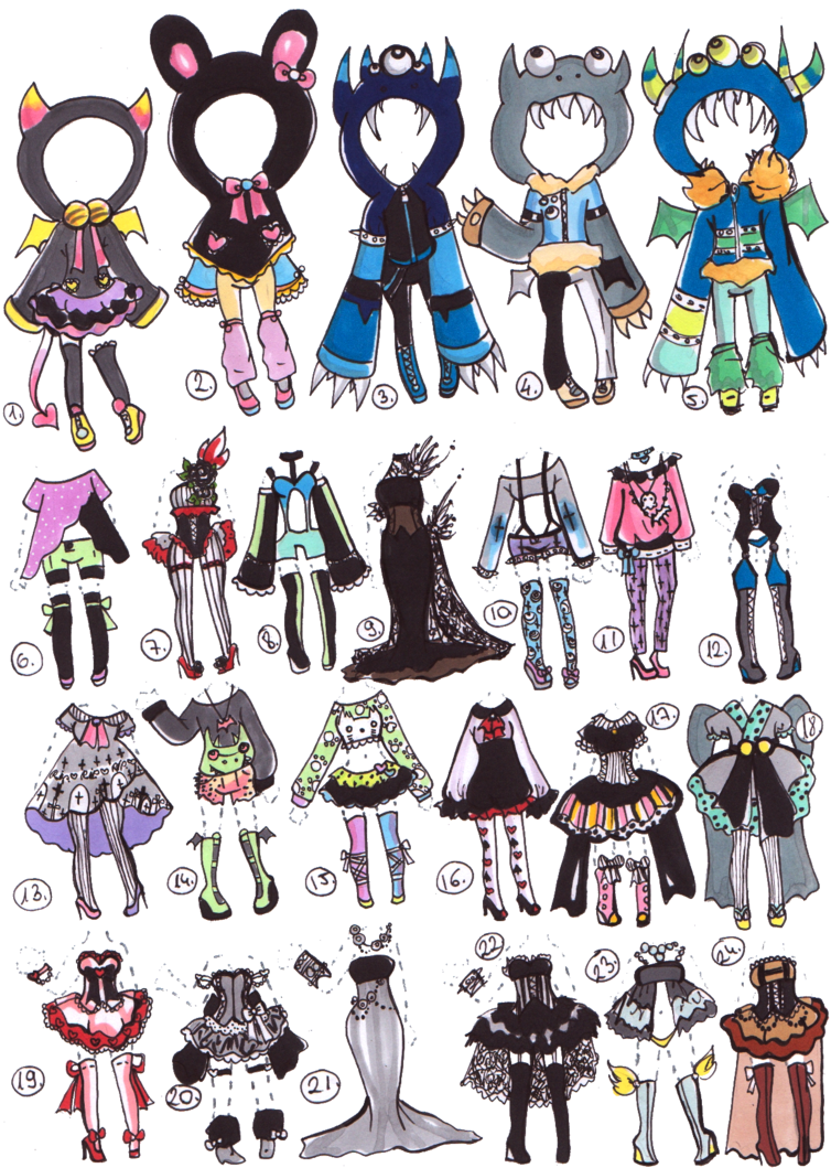graphic freeuse Drawing outfits chibi. Closed clothes adoptables by