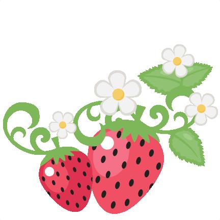 jpg Strawberries With Flowers clip art SVG scrapbook cut file cute
