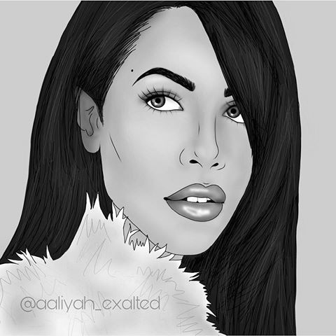 clip art black and white Aaliyah drawing.  for free download