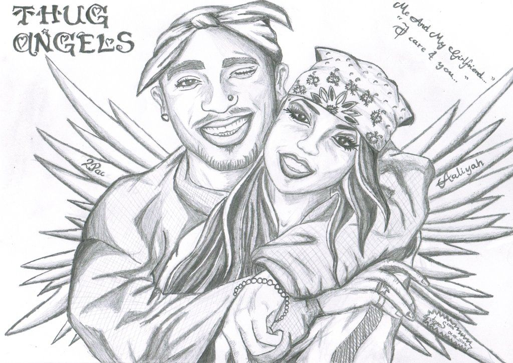jpg freeuse download Aaliyah drawing 2pac. Thug angels and pac