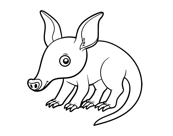 royalty free stock Coloring page coloringcrew com. Aardvark drawing