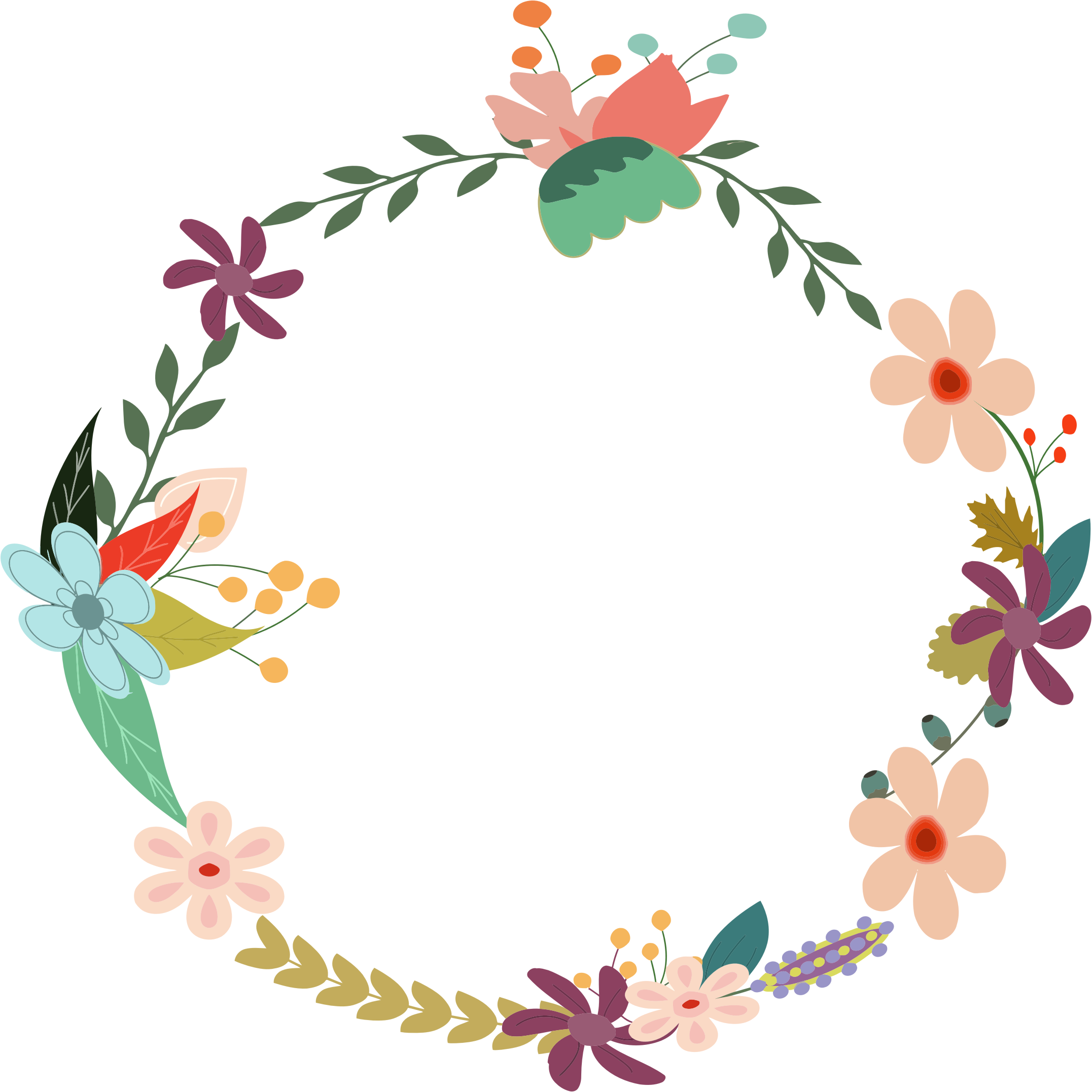 svg royalty free stock Vintage floral wreath by. Brunch clipart watercolor