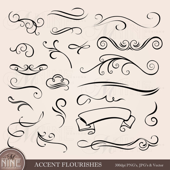 graphic black and white download Accent flourishes clip art. Accents clipart text