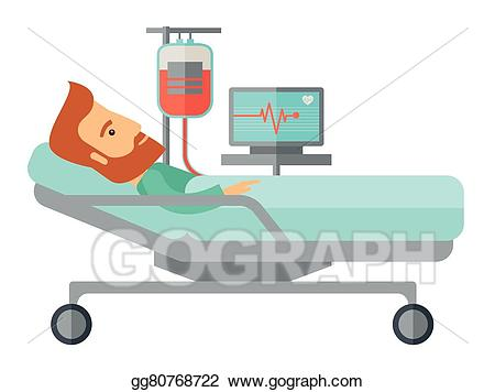 clipart black and white library Accident clipart hospitalization. Vector illustration patient in.